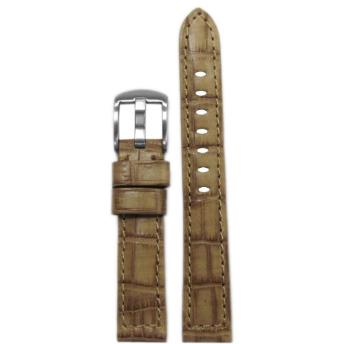 18mm Cork Natural Classic Embossed Leather Gator Print - Padded, Match Stitching | Panatime.com