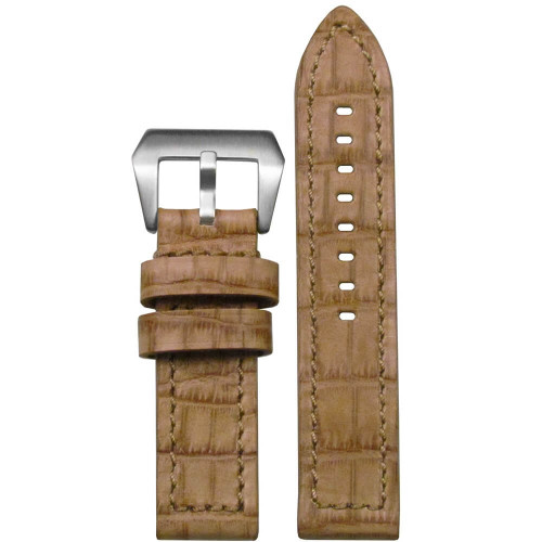 22mm Cork Natural Embossed Vintage Leather Gator - Flat, Match Stitching | Panatime.com