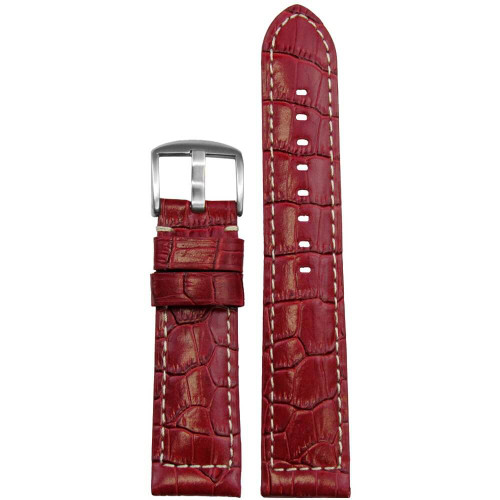 24mm Red Embossed Leather Gator Print - Padded, White Stitching | Panatime.com