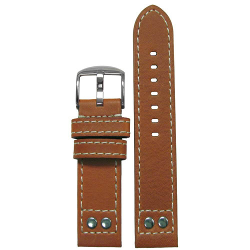 20mm (XXL) Tan Pilot Style Oiled Leather, Brush Rivets - Flat, White Stitching | Panatime.com