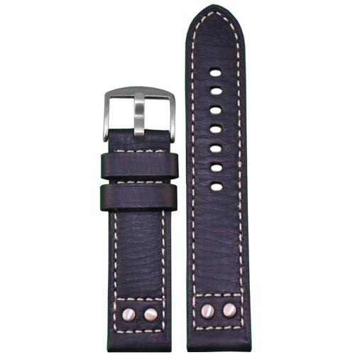 26mm (XXL) Black Pilot Style Oiled Leather, Brush Rivets - Flat, White Stitching | Panatime.com