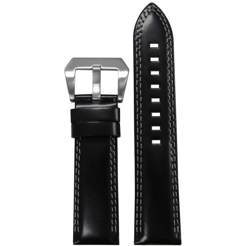 24mm Black Premium Italian Leather - Padded, Double White Stitching | Panatime.com