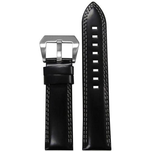 20mm Black Premium Italian Leather - Padded, Double White Stitching | Panatime.com