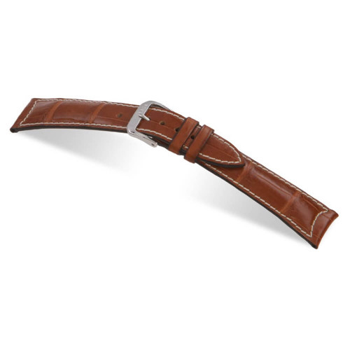 RIOS1931 Cognac Avantgarde Genuine Alligator Watch Strap For Jaeger le Coultre | Panatime.com