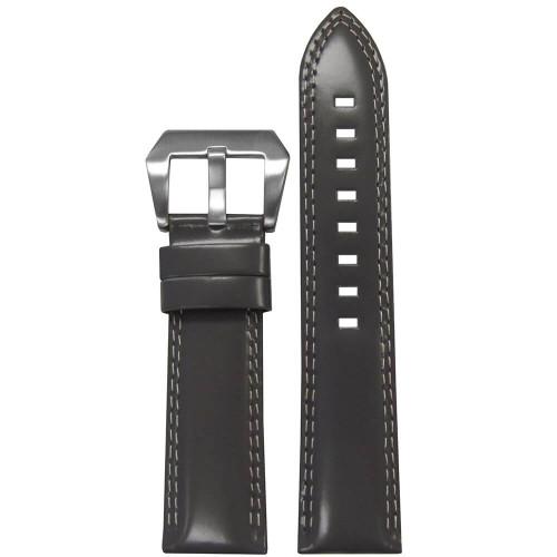 24mm Grey Premium Italian Leather - Padded, Double White Stitching | Panatime.com