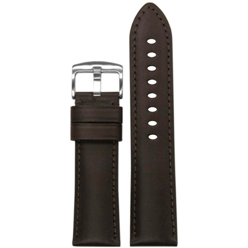22mm (XL) Brown Italian Soft Calf Leather - Padded, Match Stitching | Panatime.com