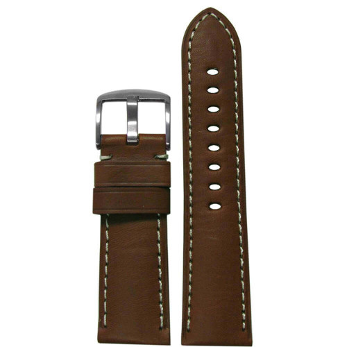 26mm Medium Brown HZ Soft Calf Sport Leather - Padded, White Stitching | Panatime.com