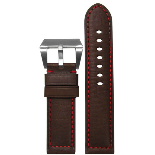 26mm Brown Classic HZ Genuine Vintage Leather - Padded Sport, Red Stitching | Panatime.com