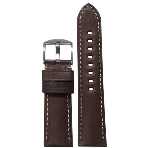 26mm Dark Brown HZ Soft Calf Sport Leather - Padded, White Stitching | Panatime.com