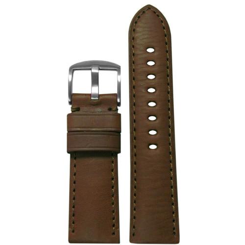 26mm Medium Brown HZ Soft Calf Sport Leather - Padded, Match Stitching | Panatime.com