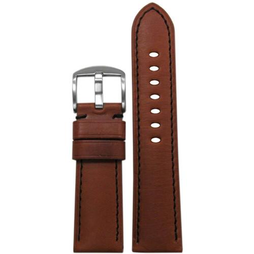 24mm Rou HZ Soft Calf Sport Leather - Padded, Black Stitching | Panatime.com