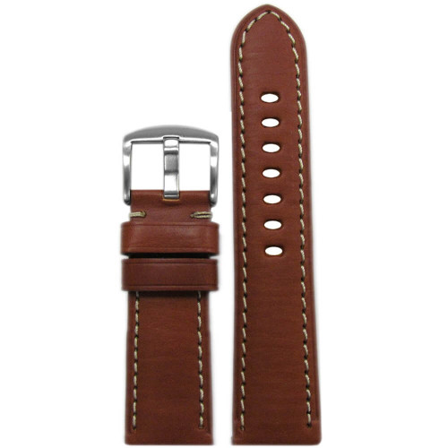 22mm Rou HZ Soft Calf Sport Leather - Padded, White Stitching   Panatime.com