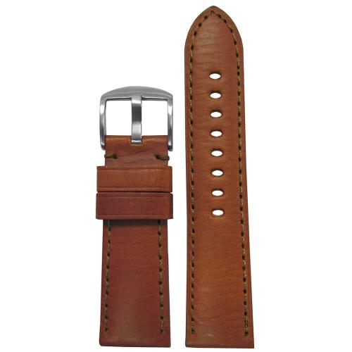 22mm Light Brown HZ Soft Calf Sport Leather - Padded, Match Stitching   Panatime.com