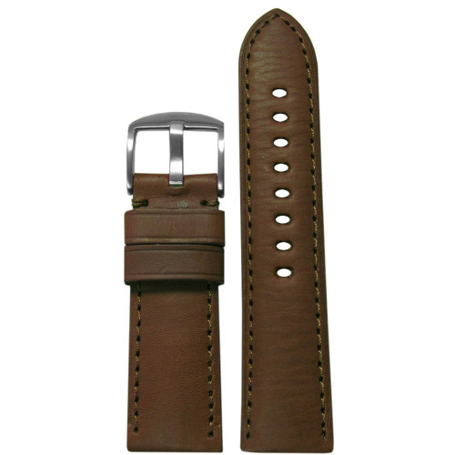 22mm Medium Brown HZ Soft Calf Sport Leather - Padded, Match Stitching | Panatime.com