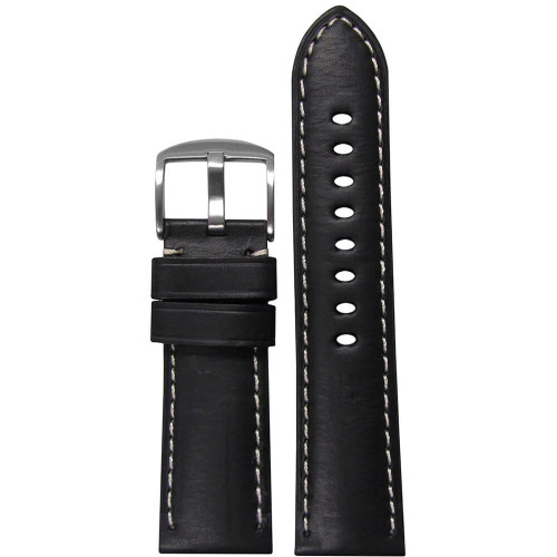 22mm Black HZ Soft Calf Sport Leather - Padded, White Stitching | Panatime.com