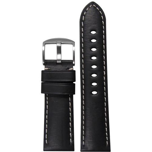 22mm Black HZ Soft Calf Sport Leather - Padded, White Stitching | Panatime.com
