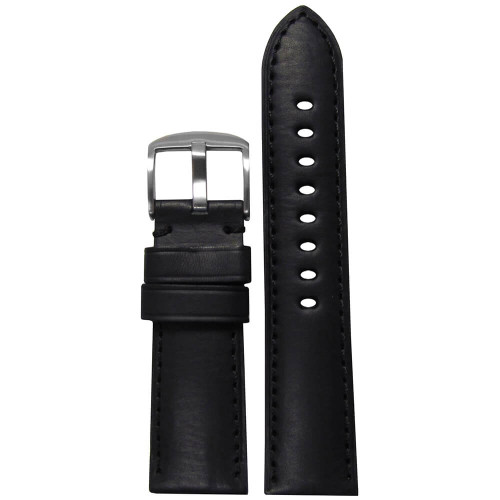 22mm Black HZ Soft Calf Sport Leather - Padded, Match Stitching | Panatime.com