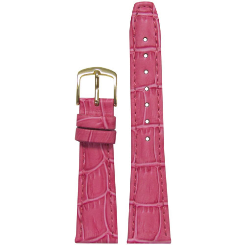 16mm Pink Leather Semi-Matte Alligator Grain, Ladies Classic (LS135) | Panatime.com