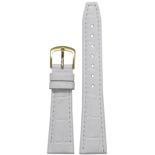 16mm White Leather Semi-Matte Alligator Grain, Ladies Classic (LS135) | Panatime.com