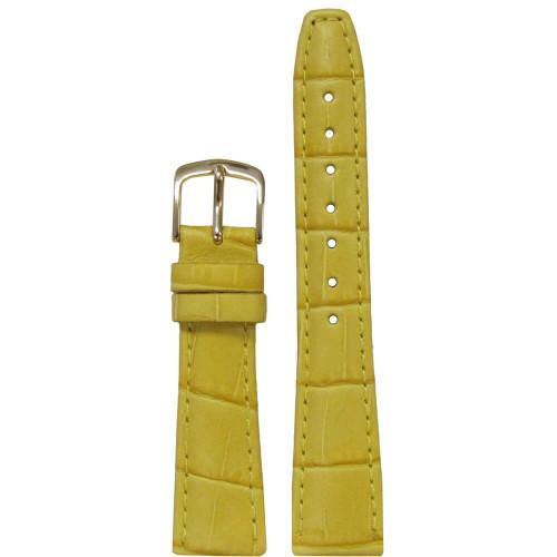 18mm Yellow Leather Semi-Matte Alligator Grain, Ladies Classic (LS135)   Panatime.com