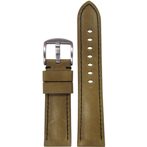 26mm Sand Distressed Vintage Soft Calf Sport Leather - Padded, Black Stitching | Panatime.com
