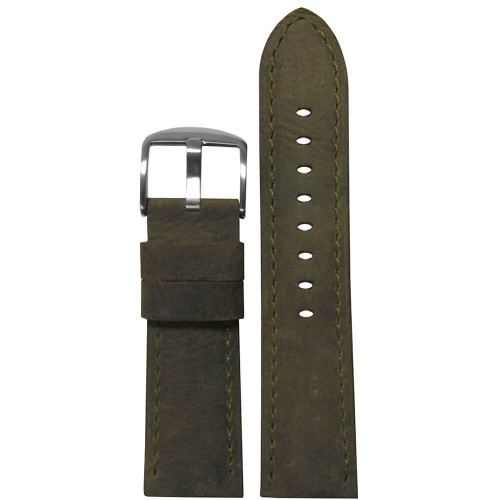 26mm (XL) Olive Sueded Soft Calf Sport Leather - Padded, Match Stitching | Panatime.com