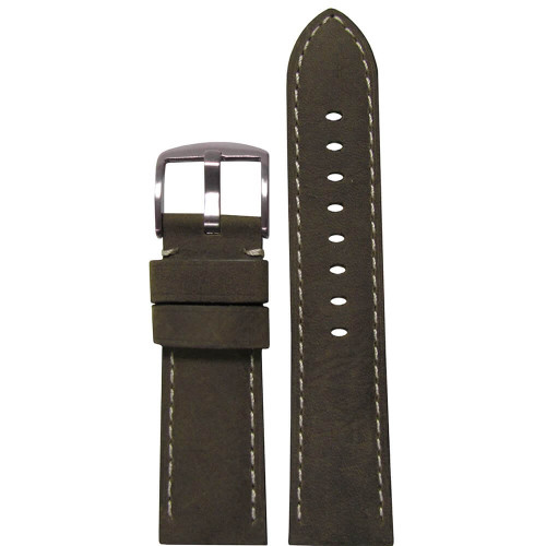 24mm Olive Sueded Soft Calf Sport Leather - Padded, White Stitching | Panatime.com