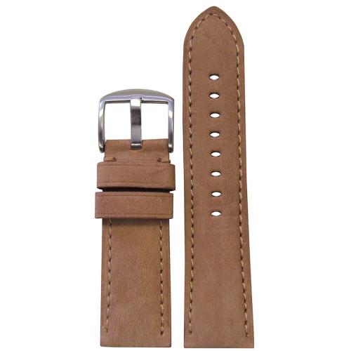 26mm Beige Soft Calf Sport Leather - Padded, Match Stitching | Panatime.com