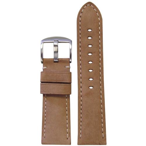 26mm (XL) Beige Soft Calf Sport Leather - Padded, White Stitching | Panatime.com