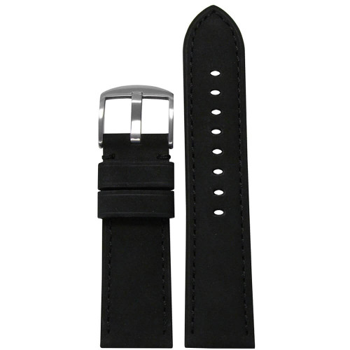 26mm (XL) Black Suede Soft Calf Sport Leather - Padded, Match Stitching | Panatime.com