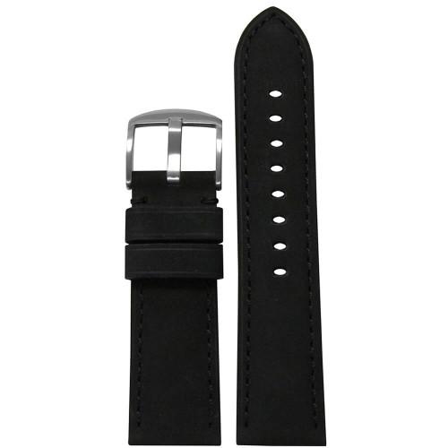 26mm (XL) Black Suede Soft Calf Sport Leather - Padded, Match Stitching | Panatime.com
