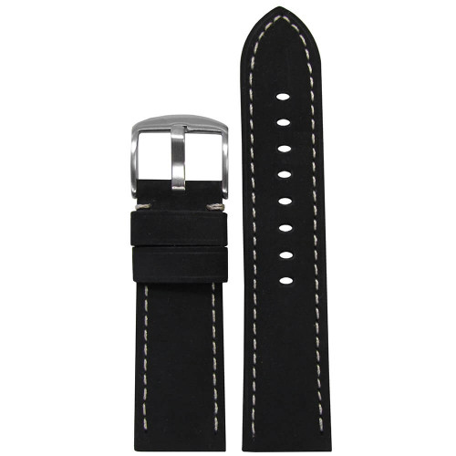 26mm Black Suede Soft Calf Sport Leather - Padded, White Stitching | Panatime.com