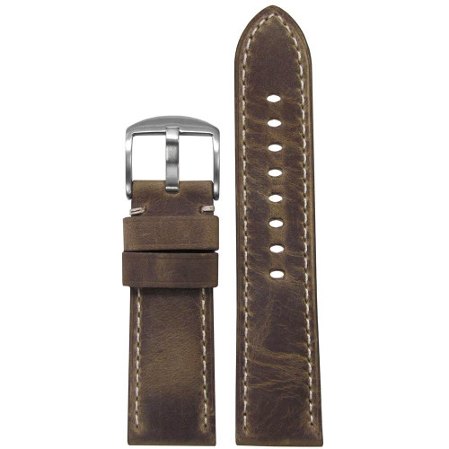 26mm (XL) Brown Distressed Soft Calf Sport Leather - Padded, White Stitching | Panatime.com