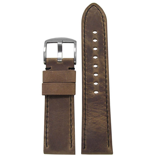 26mm (XL) Brown Distressed Soft Calf Sport Leather - Padded, Black Stitching | Panatime.com
