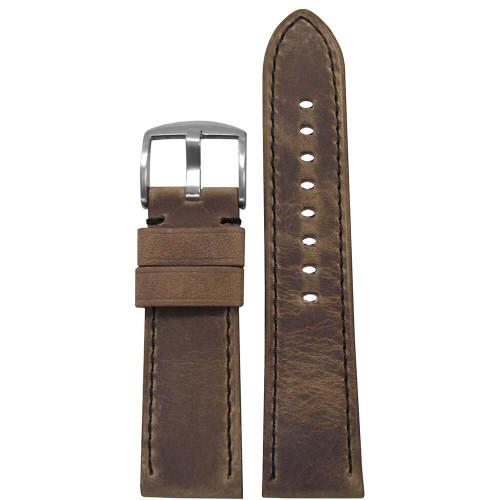26mm (XL) Brown Distressed Soft Calf Sport Leather - Padded, Black Stitching | Panatime.com
