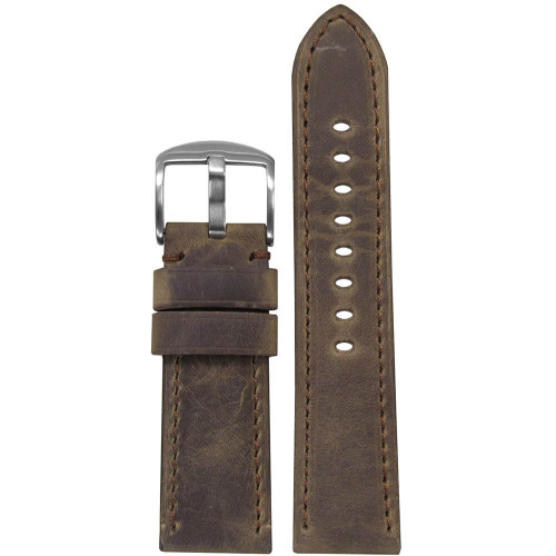 26mm (XL) Brown Distressed Soft Calf Sport Leather - Padded, Match Stitching | Panatime.com