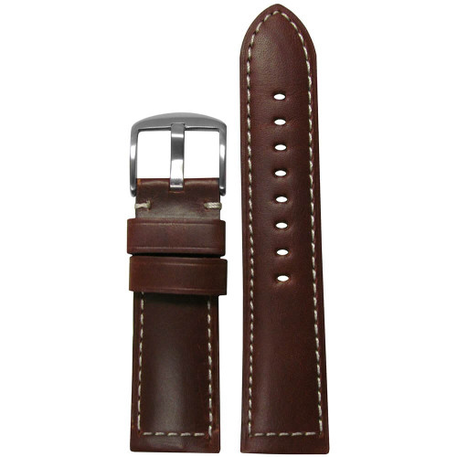 22mm Brown Soft Calf Sport Leather - Padded, White Stitching | Panatime.com