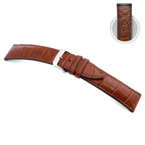 Cognac RIOS1931 Monarch - Genuine Alligator Watch Strap with Alligator Lining | Panatime.com