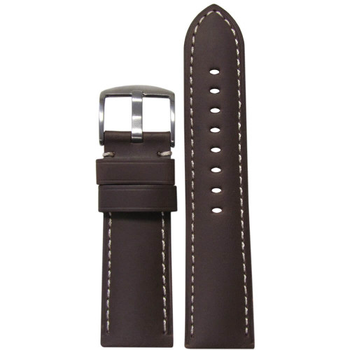 26mm Dark Brown Soft Calf Leather - Padded, White Stitching | Panatime.com