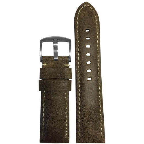 22mm Brown Distressed Vintage Leather - Padded, White Stitching | Panatime.com