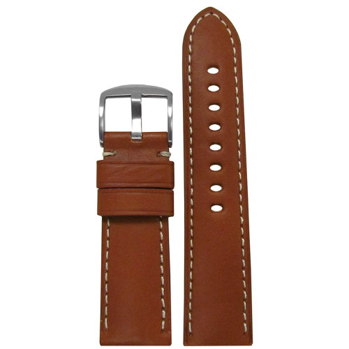 26mm Light Brown Classic Soft Calf Sport Leather - Padded, White Stitching | Panatime.com