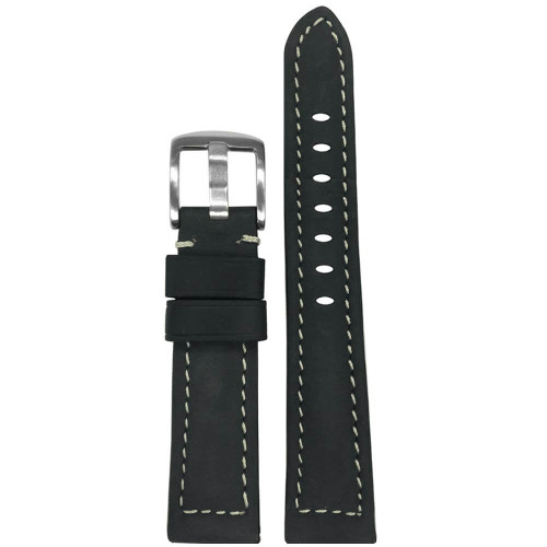 18mm Charcoal Light Suede Leather - Padded, White Stitching   Panatime.com