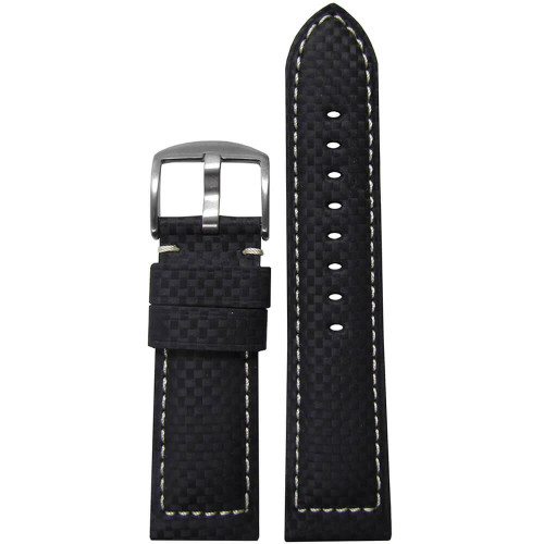 22mm (XL) Black Carbon Fiber Style Sport Watch Strap with White Stitching | Panatime.com