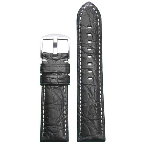 22mm Black Matte Genuine Crocodile Skin Padded Watch Strap with White Stitching | Panatime.com