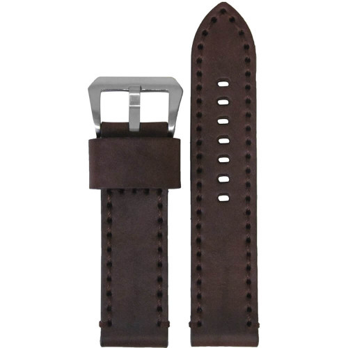 22mm Brown Bronco Vintage Leather Watch Strap with Brown Stitching | Panatime.com