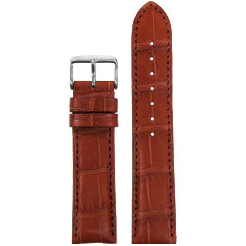 22mm Chestnut Genuine Matte Alligator Watch Strap (MS2022) | Panatime.com