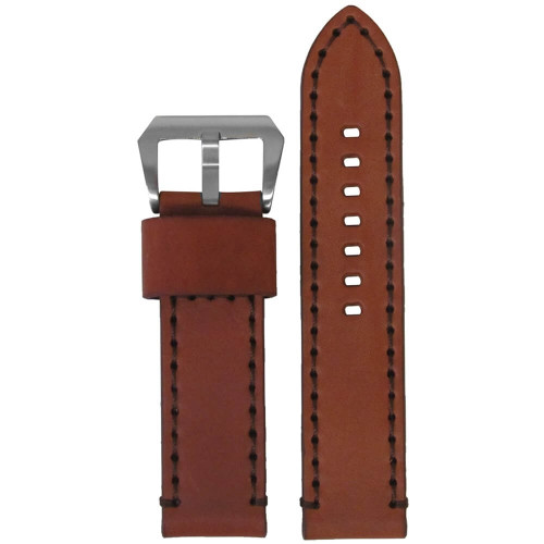 22mm Chestnut Bronco Vintage Leather Watch Strap with Dark Brown Stitching | Panatime.com