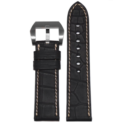24mm Black Padded Genuine Alligator with Caoutchouc Coating (Water Resistant) | Panatime.com