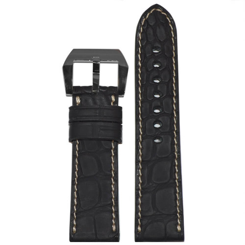 24mm Black Padded Genuine Alligator Flank with Caoutchouc Coating | Panatime.com