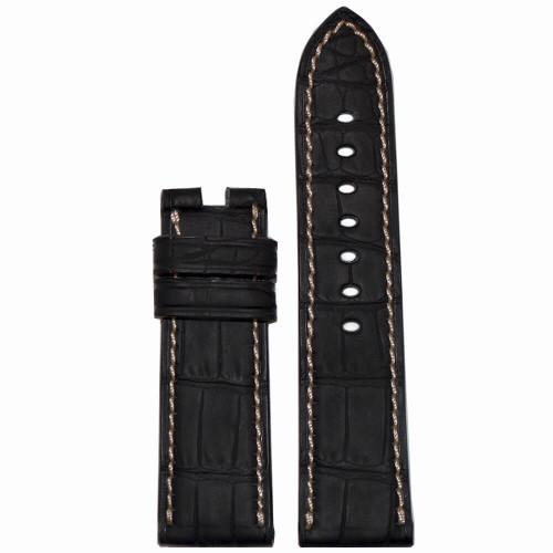 24mm Black Padded Genuine Alligator with Caoutchouc Coating For Panerai Deploy | Panatime.com